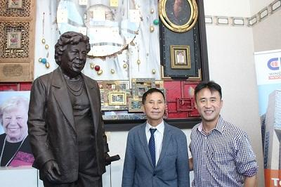 Crystal Windows Executives Unveil Statue of Claire Shulman, Former Queens Borough President